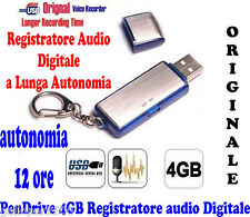 PENDRIVE 4GB REGISTRATORE VOCALE DIGITALE AUDIO AUTONOMIA OLTRE 12 ORE