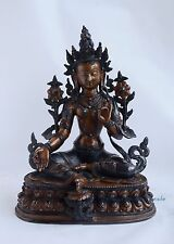 "Hand Carved 12.75"" Green Tara / Dolma Oxidized Copper Statue from Patan, Nepal"