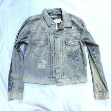NEW RALPH LAUREN DENIM & SUPPLY DISTRESSED STRIPE COTTON DENIM JEAN JACKET L LRG