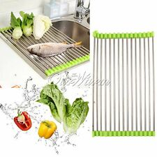 Stainless steel kitchen sink folding roller drainer tray roll mat Rack Holder