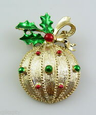 Vintage 1950s 60s SIGNED Goldtone & Enamel Christmas Decoration Brooch PIN