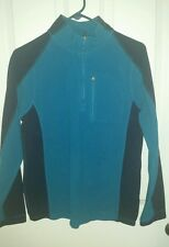 LL Bean Mens Fitness Fleece Teal & Navy 1/4 Zip Sweatshirt Lightweight Warm