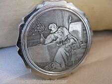 Vintage The Honeymoon Etched Lithograph Lovers Scene Compact STRATTON ENGLAND