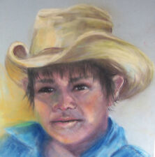 Original Drawing Pastel Charcoal SOUTHWEST MEXICAN NATIVE AMERICAN MIGRANT BOY
