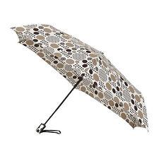 MiniMax Auto Open and Close Folding Umbrella - Brown and Beige Dots / Spots