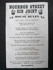 "(848) GANGSTER BOURBON STREET GIN JOINT SPEAKEASY HOUSE RULES PUB POSTER 11""x17"""