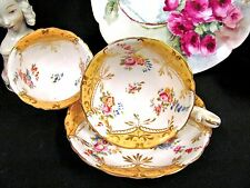 Antique c.1835 COALPORT tea cup and saucer painted floral and yellow teacup trio