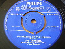 """GUY MITCHELL - HEARTACHES BY THE NUMBER     7"""" VINYL"""