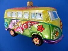 VW VAN LOVE PEACE HIPPIE BUS EUROPEAN BLOWN GLASS CHRISTMAS TREE ORNAMENT