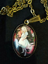Antique Brass ALICE IN WONDELAND Pendant and Necklace Goth / Steampunk