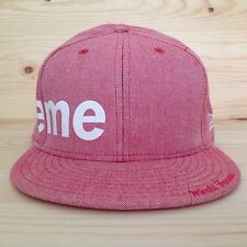 SUPREME x NEW ERA CHAMBRAY SIDE LOGO FITTED HAT CRUSHER BOX LOGO 7 1/2 FW 2008