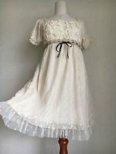 1209.BNWTaxes femme cream color double lace polka dot floral pattern dolly dress