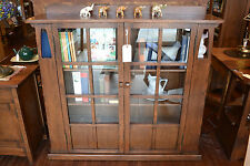 Mission Oak Double Door Bookcase with side shelves Arts and Crafts