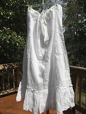 "New_Boho Peasant_Drawstring 39"" Long White Cotton Embroidered Lined Skirt"