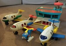 1972 Airport vintage Fisher Price Little People 996 family play planes helicopte