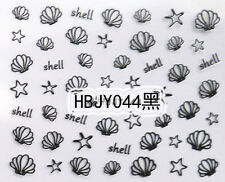 Black Sea Shells Sea Stars 3D Nail Art Sticker Decals UV Gel Tips Decoration