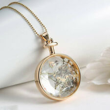 Women Gold Plated Dried Flower Glass Cabochon Pendant Long Chain Charm Necklace