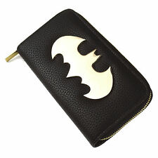 LARGE GOLD BATMAN LOGO ZIPPED PURSE RETRO WALLET COIN NOTES DC COMICS GOTHAM