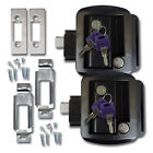 2 Black RV Paddle Entry Door Lock Latch Handle Knob Deadbolt NEW Camper Trailer