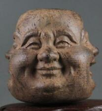 Collectibles Chinese Hand Carved wooden Tibetan Buddhism Buddha head Statues N