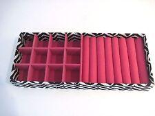 """Raymond Waites Pink Felt Lined Geometric Jewelry Drawer Organizer Tray 11""""x 4.5"""""""