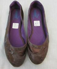 PUMA womens 5.5 brown distressed leather ballet flats Motorina shoes ortholite