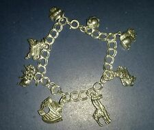 VINTAGE COLLECTORS NOAH'S ARK TWO BY TWO ANIMAL 925 SILVER CHARM BRACELET.