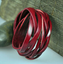 D12 Red  Quality Leather Bracelet Wristband Braids Cuff Men's