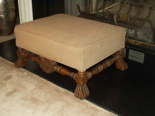 Antique Vtg Ottoman Foot Stool Bench Elegant Twill with Heavily Carved Legs