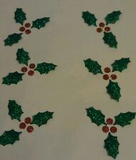 6 holly & berry glitter Hotfix iron on transfers for craft christmas ideas