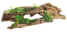 Driftwood Log with Artificial Plants Aquarium Terrarium Wood Ornament Decoration