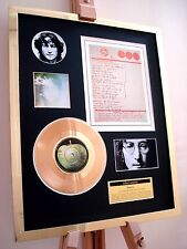 "JOHN LENNON IMAGINE 7"" GOLD RECORD DISC & HANDWRITTEN LYRICS DISPLAY"