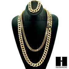 "Gold Iced Out Lab Diamond Necklace 15mm 30"" 24"" Miami Cuban Link Chain, Bracelet"