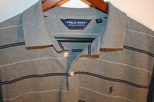 RALPH LAUREN POLO GOLF Men's S/S Pima Cotton Shirt Gray Striped Size Large