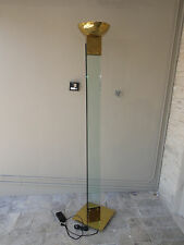 70s  MANNER OF FREDERICK RAMOND BRASS & GLASS ARCHITECTURAL STANDING FLOOR LAMP