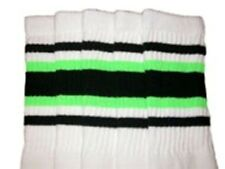 """30"""" OVER THE KNEE WHITE tube socks with BLACK/NEON GREEN stripes style 4 (30-18)"""