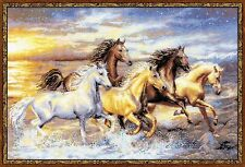 "In The Sunset (Running Horses) Premium Cross Stitch Kit -Riolis- 23.5"" x 15.75"""