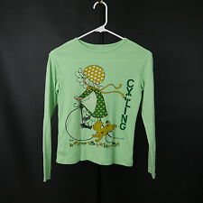 Vintage Kirby Martin Art 1974 Little Girl Cycling Kids Large Stretchy Jersey Top