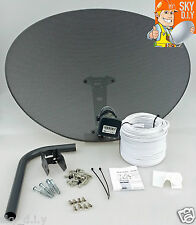 Freesat / Sky 80cm zone 2 satellite dish & quad lnb + 20m twin White install kit
