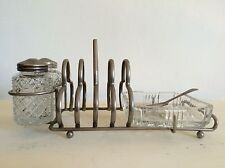Art Deco Style Toast Rack With Glass Salt & Pepper Shakers Glass Dish and Spoon
