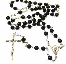 Silver plated large black glass rosary beads necklace Catholic
