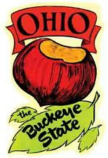 Ohio- The Buckeye State  OH  -Vintage 1960's Style Travel Decal/Sticker