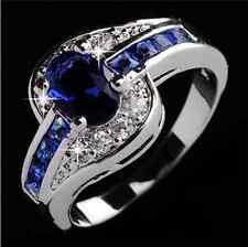 Fashion Men Women Blue Sapphire White Gold Filled Engagement Ring Jewelry  CY59