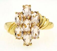 9Ct Yellow Gold Morganite Cluster Ring (Size N 1/2) 10x15mm