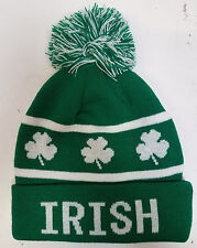 St. Patricks Day - IRISH - GREEN Skull Hat with Tassle and Clovers