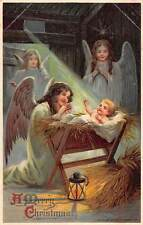 A Merry Christmas, Stable, Holy Birth, Angel, Cherubs 1913