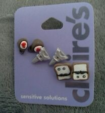 Claires sensitive solutions three pair earrings set cute new!