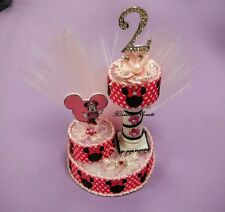 Minnie Mouse Birthday Cake Topper/ Centerpiece. Pink ,Black. Handmade