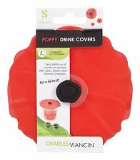Charles Viancin Poppy Lid 4 in. Silicone Red 2 pack