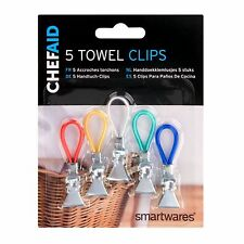 NEW 5 TEA TOWEL CLIPS FOR HANGING CLEANING CLOTHS TOWELS IN KITCHEN CHEF AID